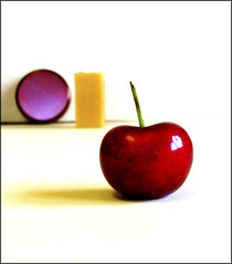 3 shapes of different colors (Bob R.L. Evans) Tags: abstract fruit circle vivid negativespace simple rectangle asymmetric ipadphotography stilllifecherry