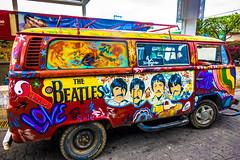 A cool painted VW van in Oaxaca.
