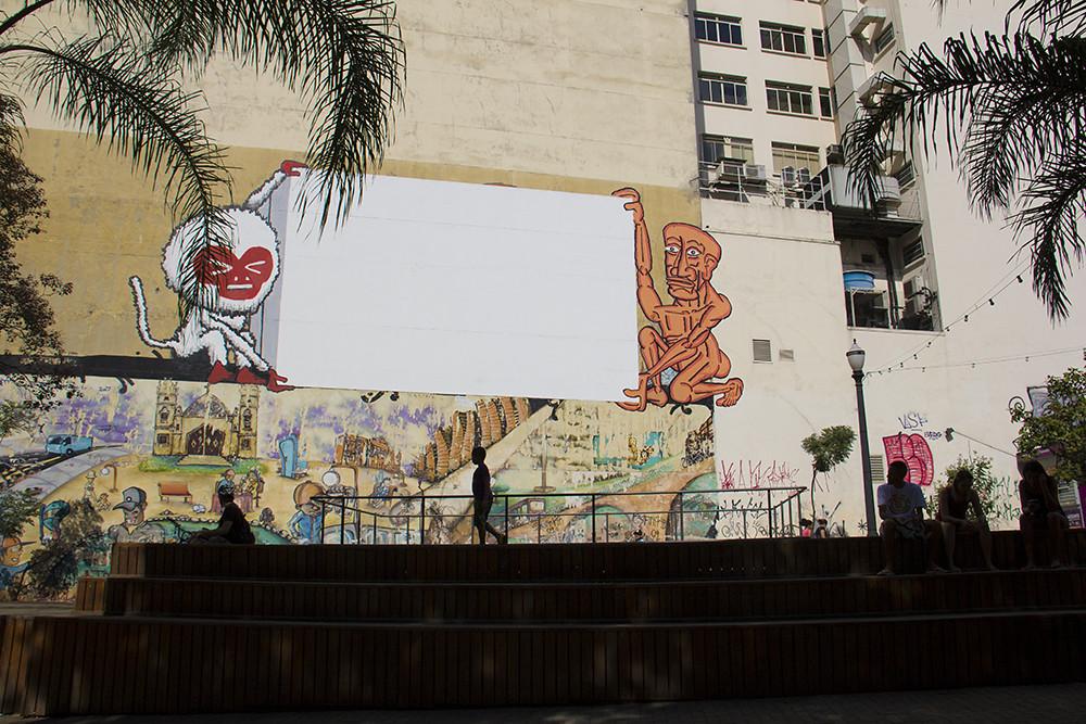 Tour Centro Histórico de São Paulo - Largo São Francisco - grafites para projeção