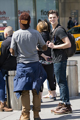 094A8311 v2 (Wheels Down) Tags: nyc cute male guy smile bag boots candid handsome twink jeans backpack hottie columbuscircle