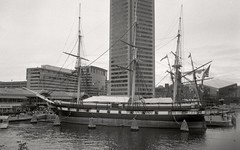 USS Constellation (je245) Tags: md kodak maryland baltimore diafine innerharbor px125 ussconstellation canon7s canon35mmf20ltm