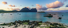 Sunrise Lord Howe Island (NettyA) Tags: pink sea panorama mountains beach water clouds sunrise landscape boats island sand rocks pano australia nsw day9 unescoworldheritage lordhoweisland thelagoon 2016 lhi mtgower mtlidgbird janetteasche lordhoweforclimate