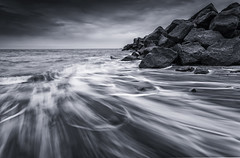 Hopton Waves (scott.hammond34) Tags: blackandwhite seascape beach water clouds contrast landscape mono blackwhite movement rocks waves outdoor norfolk shore hopton leefilters