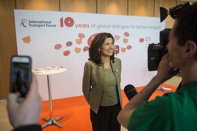 Gabriela Ramos speaks to the media