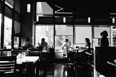 Early diners at Steelhead. Seattle, WA. June 2016. (poopoorama) Tags: seattle blackandwhite bw restaurant washington unitedstates fujifilm pikeplacemarket steelhead xseries dannyngan x100t dannynganphotography