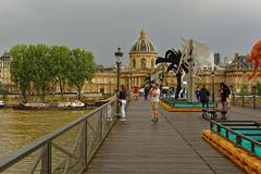 Paris - A moment on the Pont des Arts (Pantchoa) Tags: parisfrance pontdesarts pont seine fleuve eau institutdefranv acadmie gens sculpture exposition arbres nuageux architecture nikon d7100 24mmf18ged rverbre pniches crue inondation coupole nwm