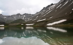 Alpine summer (Safarii) Tags: mountain lake snow france mountains alps cold reflection water weather skyline clouds rural walking french outdoors high altitude lakes lac ridge valley scree melt lacs snowmelt glacial briancon glaciallake largentiere larochederame lacdelascension largentierelebessee