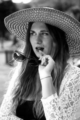 Chiara (Riccardo_29) Tags: light bw italy sun white black beautiful beauty hat hair model eyes italian nikon italia lips occhi sole bianco nero luce cappello capelli occhiali galss labbra modella d3100