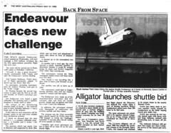 Space Shuttle Endeavor (RS 1990) Tags: 1996 spaceshuttle 1990s endeavor microfilm slsa thewestaustralian