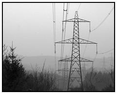 Pylons (FOTOMAV) Tags: blackandwhite bw landscape pentax devon cables exeter pylons distance powercables haldonwoods pentaxart pentaxkr l6pylons l6towers
