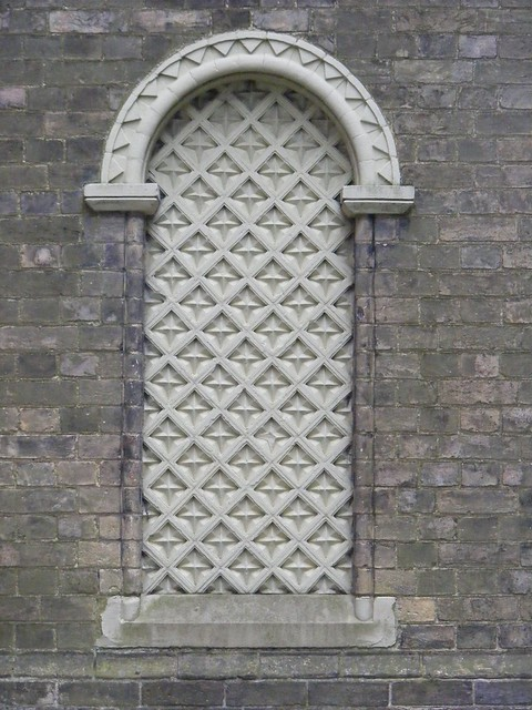 Porch - fake side window, HOLY TRINITY CHURCH, Neo-Norman  c 1840. Chelmsford