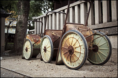 Wheelbarrows. Yes, wheelbarrows. (Eric Flexyourhead) Tags: old detail japan japanese shrine rusty worn  weathered osaka shinto kita kansai wheelbarrow patina fragment kitaku  osakashi    osakatenmangushrine olympusep1 panasoniclumix20mmf17