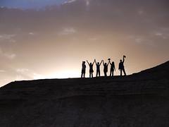 Sunset Silhouettes (daniel.frauchiger) Tags: china sunset people silhouette desert panasonic waving gobi gansu dunhuang gf1