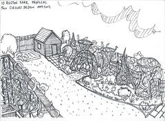Woven screen proposal (Mark and Rebecca Ford Art Sculpture) Tags: flower garden bed westsussex balcony border shed lawn vine screen willow hazel woven climber creeper gardendesign sweetchestnut gardenobelisk southdownsnationalpark