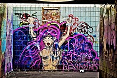 Help me!! (ser-e-us) Tags: street cloud art colors girl wall hair underpass manchester graffiti colours tunnel chain tiles strong passage chained