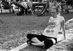 early labor (aamith) Tags: park bw film 35mm pain pregnancy contraction nikonf5 pregnantwoman 50mmf14d kodak400tx