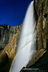 Muir's Dream (landESCAPEphotography | jeff lewis) Tags: longexposure jeff night stars landscape waterfall rainbow lewis double falls upper yosemite landescape moonbow landescapephotography