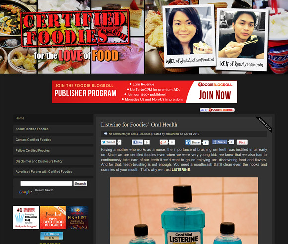 Old layout of CertifiedFoodies.com