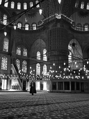 priest walking in blue mosque // istanbul, turkey (pamela ross) Tags: pen turkey walking olympus istanbul mosque bluemosque ep1
