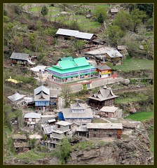 Quaint village seen in the valley from Recong Peo (Indianature4) Tags: india mountains hp april himachal himalayas 2012 himachalpradesh kinnaur peo indianature recongpeo snonymous