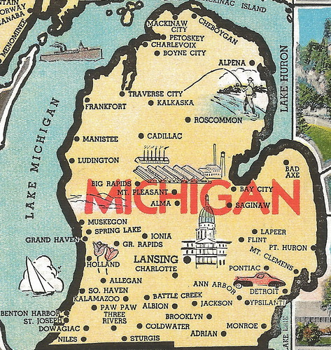 Vintage Michigan History Heritage Travel Tourism Collectible Map