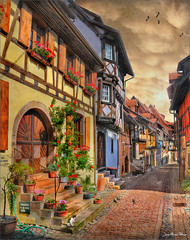The hose - Le tuyau (Jean-Michel Priaux) Tags: flowers france art colors architecture photoshop painting way landscape nikon village path medieval alsace ruelle paysage rue hdr chemin colombage patrimoine pitoresque d90 patrimony eguisheim priaux mygearandme ringexcellence flickrstruereflection1