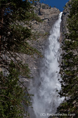 Upper-Yosemite-Fall-Plunges-into-Yosemite-National-Park-32.jpg (RogueSocks) Tags: california blue trees sky usa mountain mountains water closeup pine forest photo waterfall cliffs granite yosemitenationalpark hdr mercedriver upperyosemitefall
