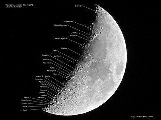 Waxing Crescent Moon (Labeled) - May 27, 2012