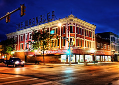 Cheyenne at Night (` Toshio ') Tags: street city blue red west building brick history architecture america truck store downtown cityscape western historical bluehour wyoming hdr highdynamicrange americanwest cheyenne wrangler toshio
