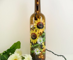 Lighted Wine Bottle Sunflowers Brown Hand Painted 750 ml (Painting by Elaine) Tags: lighting brown glass yellow lights bottle wine painted sunflowers handpainted winebottle homedecor lighted barlight paintedbottle lightedwinebottle paintingbyelaine