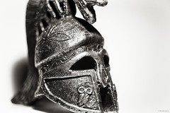 macro maximus (hyimted) Tags: macro monochrome blackwhite roman helmet sparta offcameralighting silverefexpro2