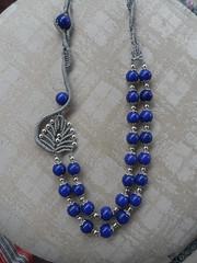 collana lapislazzuli (patty macram) Tags: bijoux macrame collane gioielli macram margaretenspitze