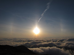 Pillar, dogs, and undercast (rightthewrong) Tags: new dog sun white mountains sunrise washington mt pillar may peak nh hampshire presidential mount observatory summit sundog 2012 obs sundogs mwo presidentials undercast