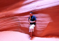 The Navajo Flute Player      [Explored ] #68 (JohnCramerPhotography) Tags: red arizona portrait musician sandstone flute navajo slotcanyon antelopecanyon