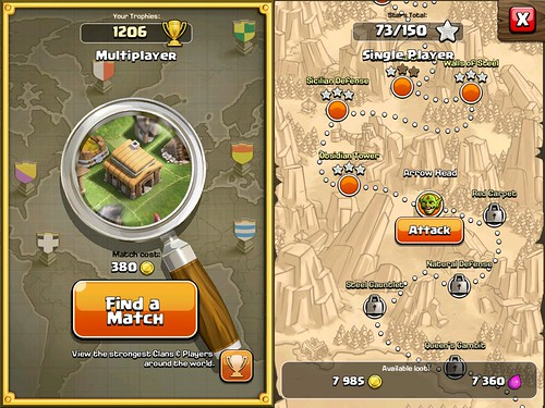 Clash of Clans Level Selection, Multiplayer: screenshots, UI