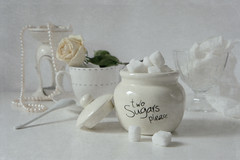 two lumps of sugar (Button-NK) Tags: white stilllife sugar rose sugarbowl kitchenutensils cup spoon pearl vase
