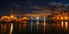 sitting on the dock of the bay (MC Snapper78) Tags: reflection ferry night reflections boats reflecting scotland riverclyde greenock crane queenmary superyacht yatchts syeos nikond3300 sugarsheds jameswattdocks marilynconnor