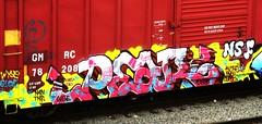 pear (timetomakethepasta) Tags: train graffiti pear boxcar curve d30 freight nsf thr nehi gloe wyse wge n4n kuthe gmrc
