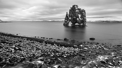 guarding the fjord through the eons (lunaryuna) Tags: bw panorama water monochrome rock landscape coast blackwhite iceland shore legends imagination fjord lunaryuna seastack waterscape hvitserkur scifibuffsunleashed northiceland petrifiedtroll
