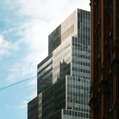 New York Architecture #288 (Ximo Michavila) Tags: city nyc blue windows shadow sky urban usa sunlight newyork abstract building geometric architecture clouds square day cable 11 archidose archdaily archiref ximomichavila