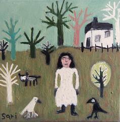 #1334 (sariart2) Tags: original trees dog house abstract art girl birds painting landscape acrylic raw folk outsider ooak naive sari primitive childlike azaria noy