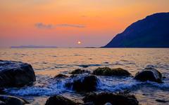 Midnight sun in foggy conditions (Reidar Trekkvold) Tags: xt10 fog forest fujifilm fujifilmxt10 harstad landscape midnattsol midnight mountain natur nature nordnorge norway nupen sea seascape seaside sjø sun sunset troms water xf1855ois