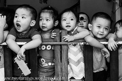 Inmates at the nursery... (johnkenyonphotography@gmail.com) Tags: travel portrait bw monochrome mono seasia candid streetphotography vietnam hoian portraiture streetphoto travelblog travelphotography