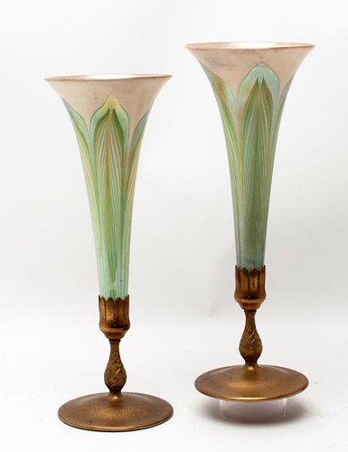 Pair of Louis Comfort Tiffany Pulled Feather Vases ($1,375.00)