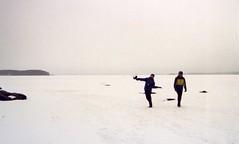 Throwing things (ture360) Tags: lake snow film ice boys fog analog finland filmcamera kodakfilm plkne mallasvesi kodakcolorplus200 minoltadynax5000i minibeercan maf3570f4