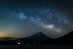 The Milky Way Draped Over Fuji (lestaylorphoto) Tags: travel japan night stars nikon fuji space astrophotography leslie taylor astronomy universe cosmic mtfuji milkyway d610 motosuko lestaylorphoto