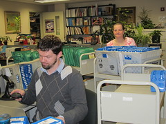 Processing digital and large print book returns (Worcester Talking Book Library) Tags: worcesterma worcestertalkingbooklibrary snapmass12 photoreleaseonfile cwmars