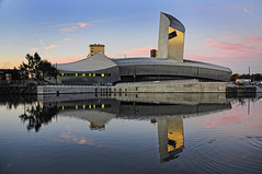 UK - Manchester - Salford - IWM North Sunrise (Darrell Godliman) Tags: uk greatbritain travel england copyright reflection building tourism museum architecture reflections manchester nikon europe britishisles unitedkingdom britain eu salfordquays gb libeskind salford modernarchitecture europeanunion imperialwarmuseumnorth daniellibeskind allrightsreserved imperialwarmuseum contemporaryarchitecture travelphotography greatermanchester iwmnorth omot travelphotographer flickrelite dgphotos darrellgodliman wwwdgphotoscouk d300s nikond300s ukmanchestersalfordiwmnorthsunrisedsc5557