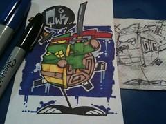 Qwik! It's Leonardo (Qwik6!) Tags: sticker turtle character cartoon marker sharpie six tmnt indexcard qwik