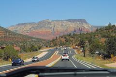 _MG_3748 (kaysuue) Tags: street trees red arizona cactus mountains cars landscape rocks driving desert sedona forests